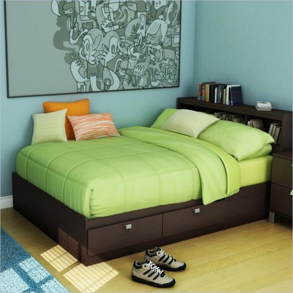 La t te de lit avec rangement un gain d 39 espace d co - Rangement vetement petit espace ...