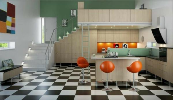 tabouret-de-bar-coloré-cuisine-contemporaine-intérieur-unique