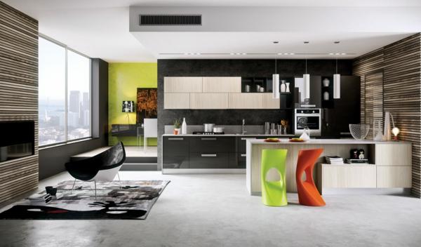 tabouret-de-bar-coloré-une-cuisine-élégante
