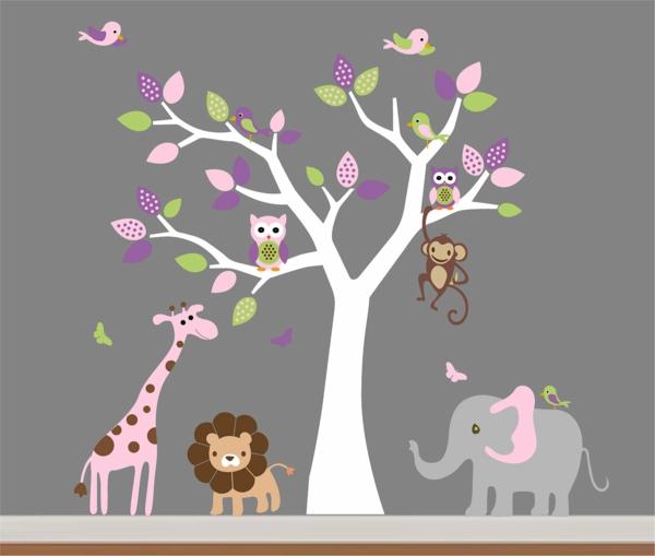 unique-décoration-mural-sticker-en-arbre-avec-des-animeuax-et-mur-gris