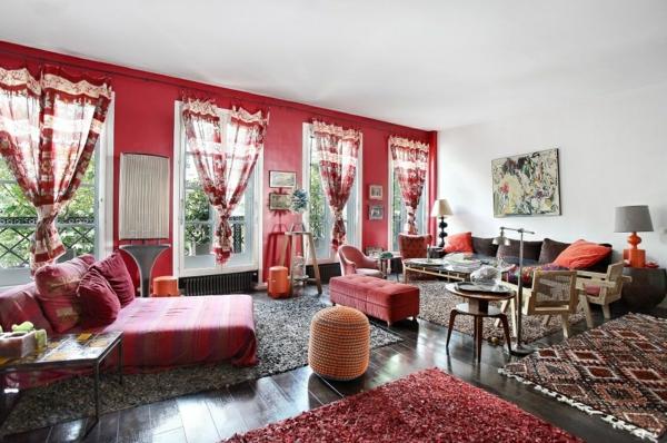 appartement-atypique-à-Paris-style-bohémien-en-rouge