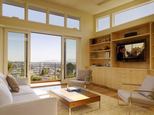 baie-vitrée-coulissante-buffet-en-bois-et-une-terrasse