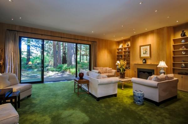 baie-vitrée-coulissante-salle-de-sjour-traditionnelle-étagères-intégrées