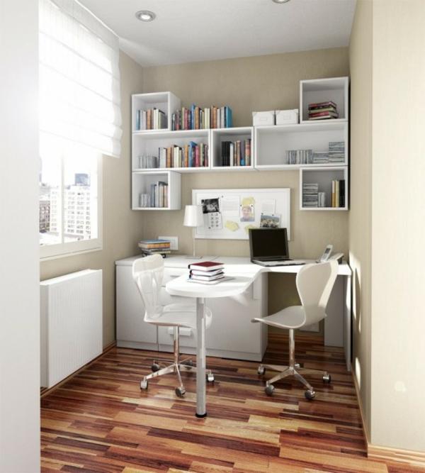 bureau-avec-étagère-étagère-flottante-et-plancher-en-bois
