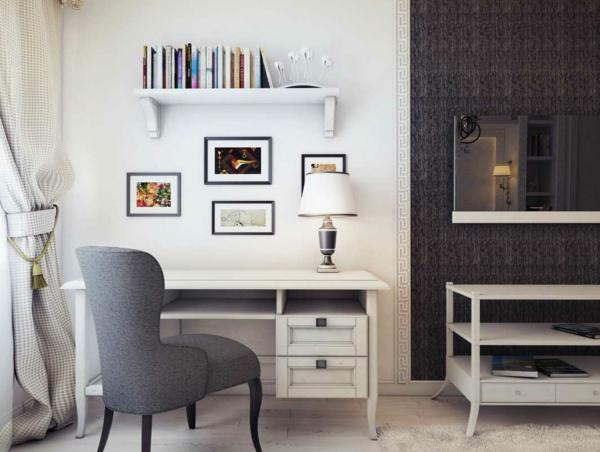 bureau-avec-étagère-étagère-murale-minimaliste