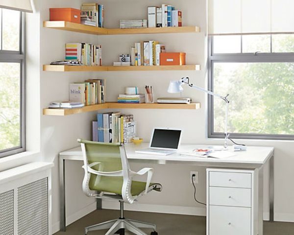 Le bureau avec tag re designs cr atifs for Bureau angle avec etagere