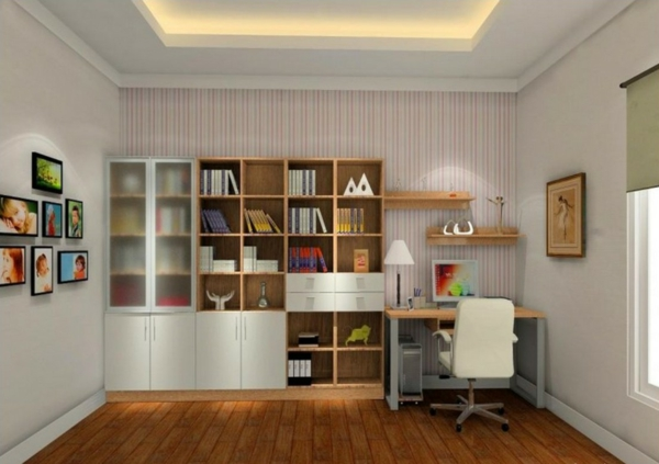 Le bureau avec tag re designs cr atifs Home study room ideas