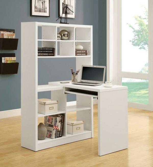 bureau-avec-étagère-bureau-blanc-avec-rangement