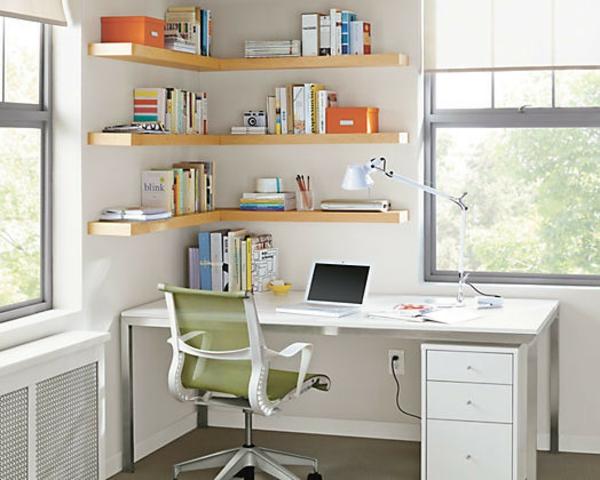 bureau-avec-étagère-bureau-blanc-et-étagères-flottantes-en-bois