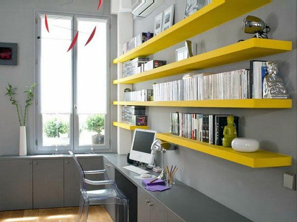 bureau-avec-étagère-bureau-gris-et-étagères-jaunes