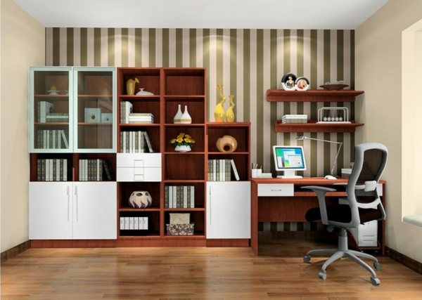bureau-avec-étagère-casiers-ouverts-et-placards-blancs