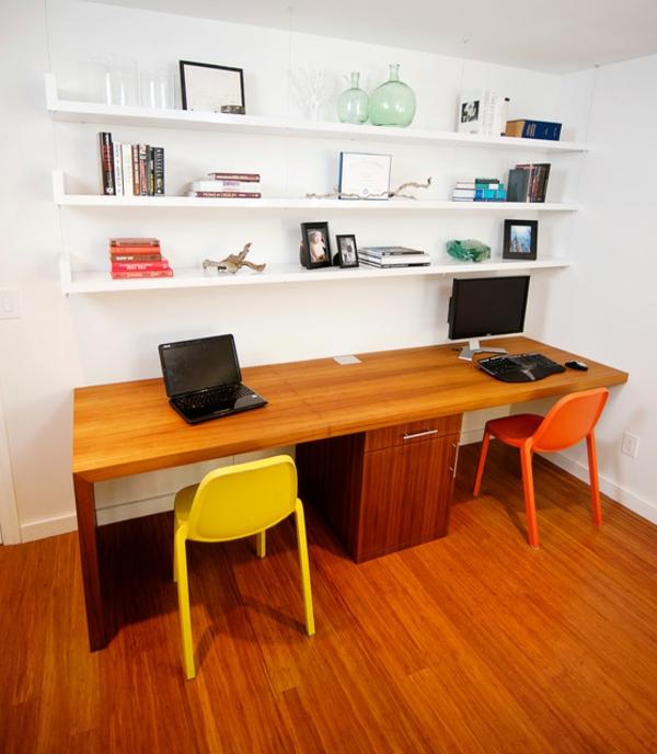 bureau-avec-étagère-décor-superbe-étagères-murales-blanches