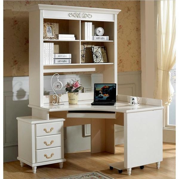 bureau-avec-étagère-design-blanc