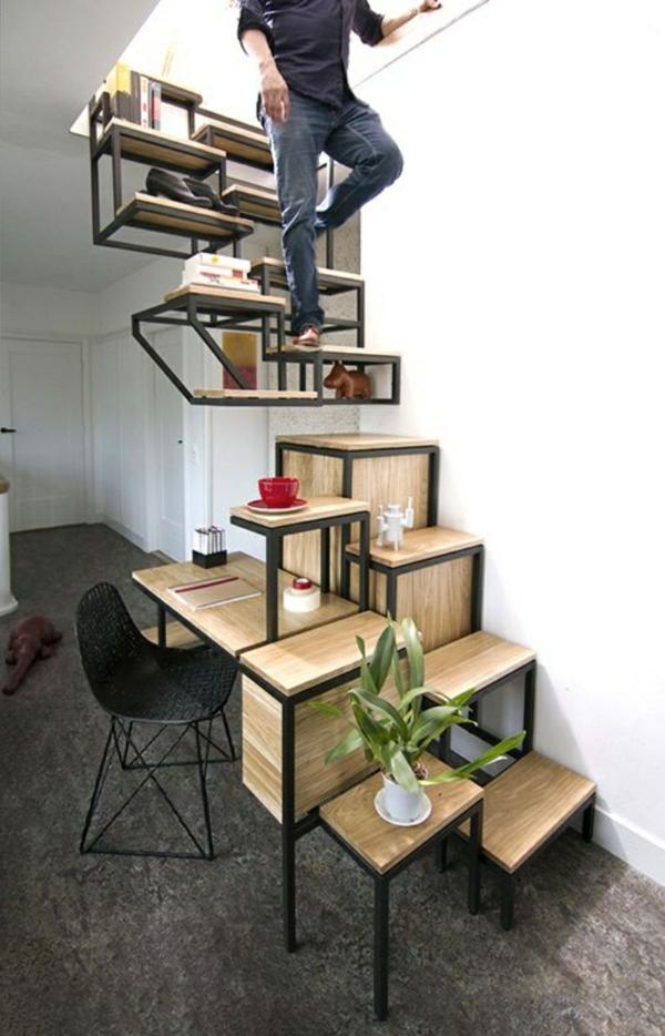 bureau-avec-étagère-design-cool-petit-escalier-en-bois