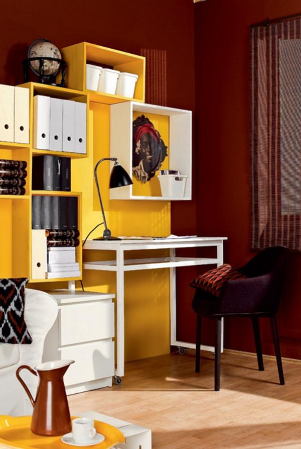 bureau-avec-étagère-design-créatif-en-jaune-et-blanc