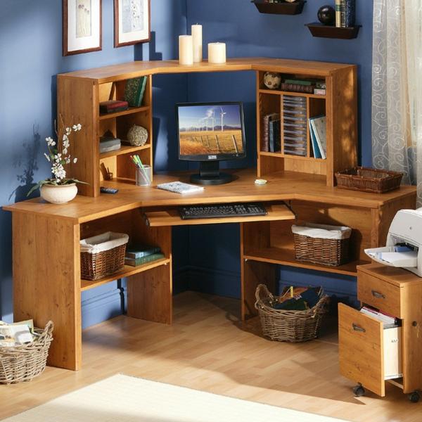 bureau-avec-étagère-design-en-bois