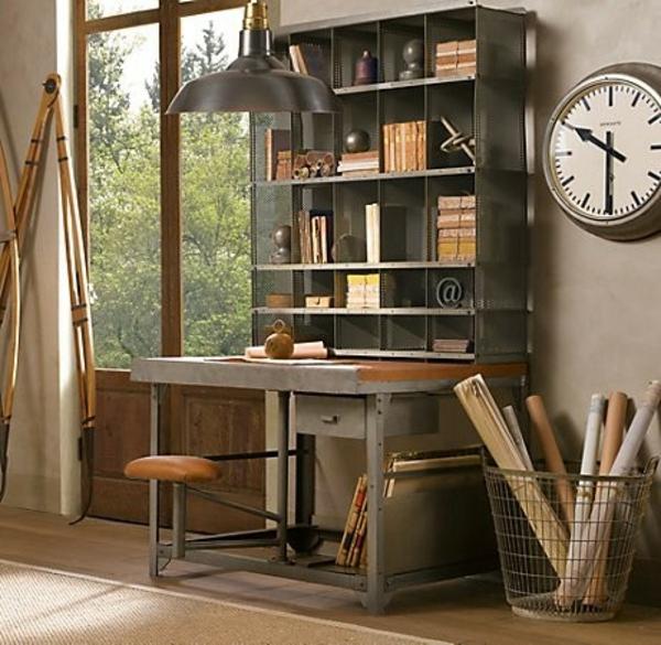 bureau-avec-étagère-design-industriel