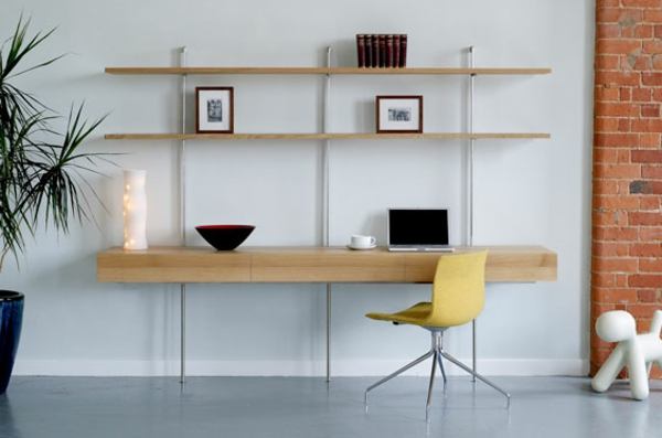 Le bureau avec tag re designs cr atifs for Meuble bureau fer