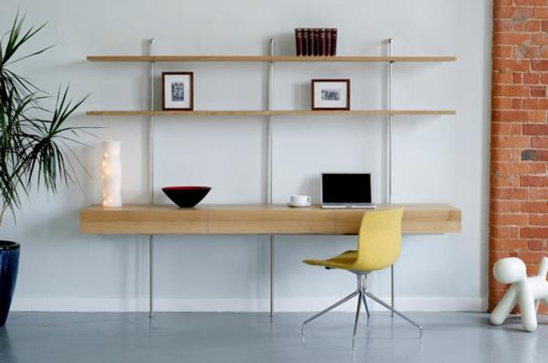 bureau-avec-étagère-design-minimaliste-en-bois-et-fer
