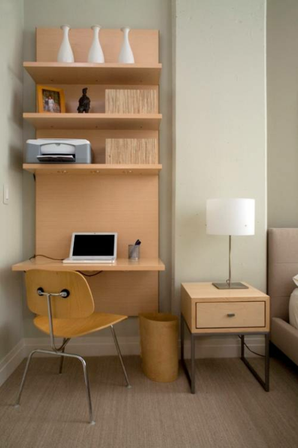 bureau-avec-étagère-design-simple-en-bois