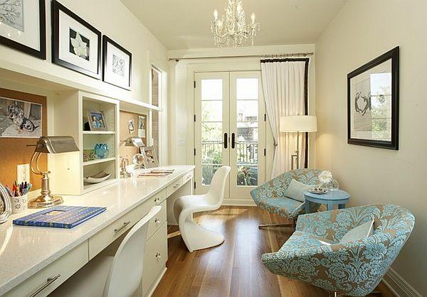 bureau-avec-étagère-deux-bureau-blancs-avec-rangement-et-chaises-panton