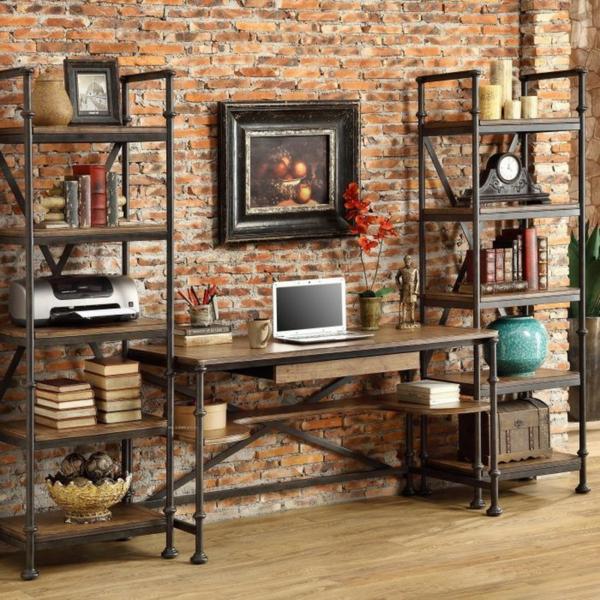 bureau-avec-étagère-en-bois-et-fer
