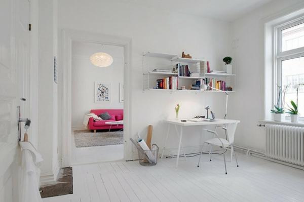 bureau-avec-étagère-espace-déco-en-blanc