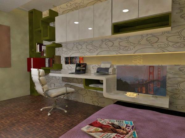 bureau-avec-étagère-espaces-de-travail-créatifs