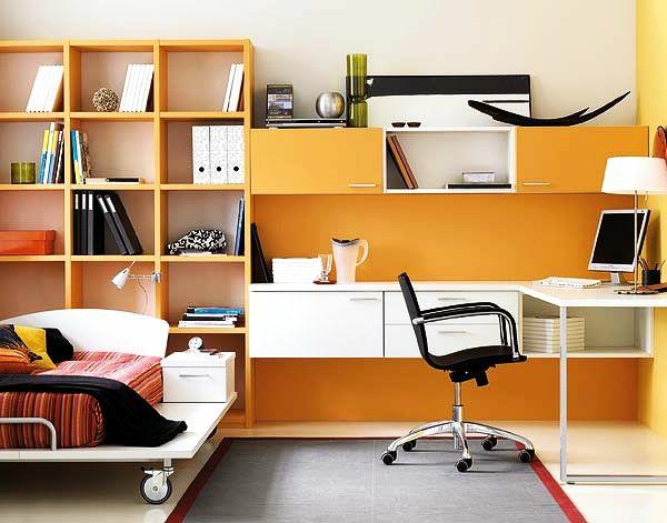 bureau-avec-étagère-et-un-lit-plateforme-original