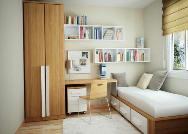 bureau-avec-étagère-idées-déco-pour-les-petites-salles