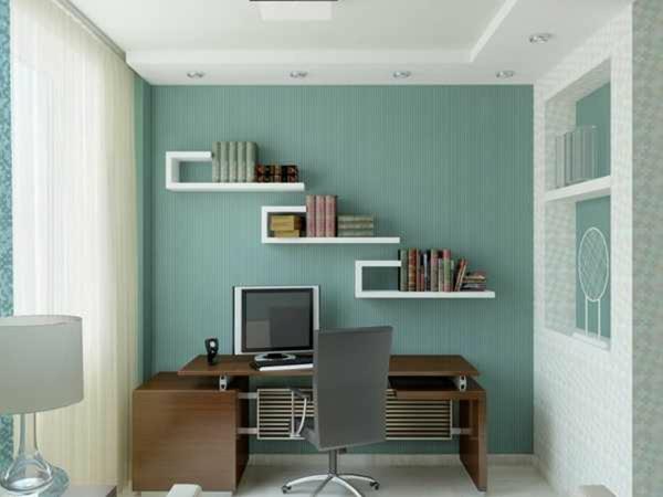 bureau-avec-étagère-idées-stylées-pour-les-petits-espaces