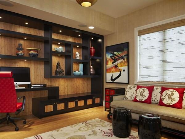 bureau-avec-étagère-petit-salon-fantastique-style-japonais