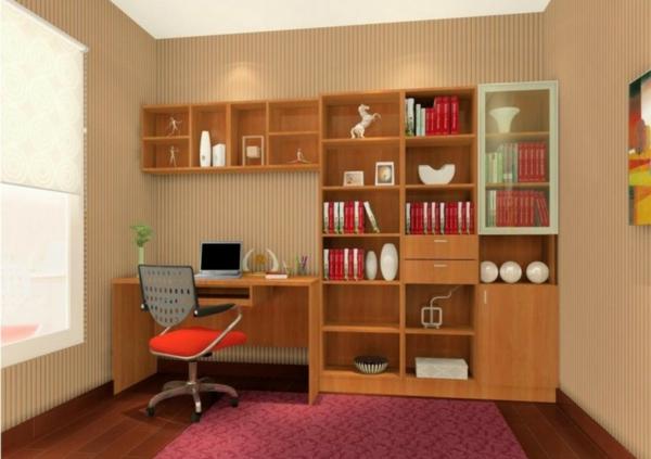 bureau-avec-étagère-petite-bibliothèque-en-bois