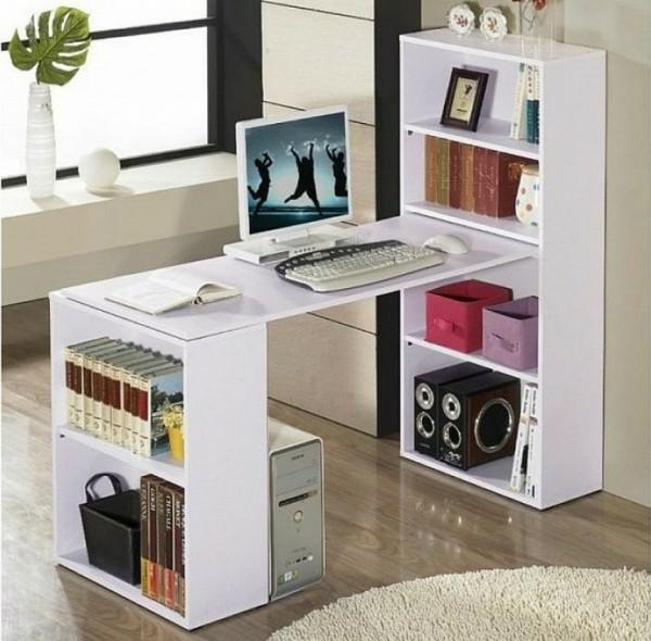 bureau-avec-étagère-rangement-créatif