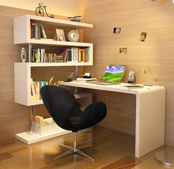 Le bureau avec tag re designs cr atifs - Bureau original ...