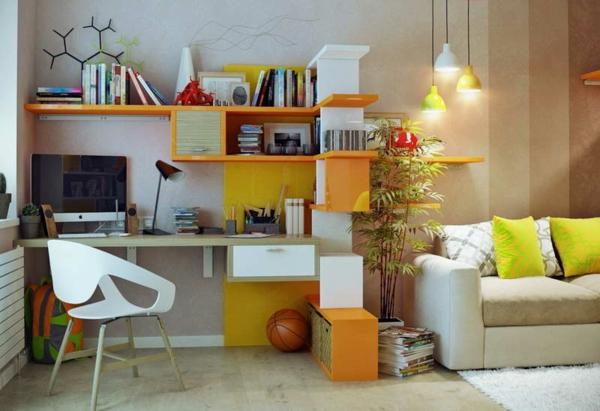 bureau-avec-étagère-sofa-beige-lampes-pendantes