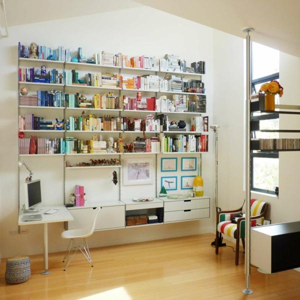 le bureau avec tag re designs cr atifs. Black Bedroom Furniture Sets. Home Design Ideas