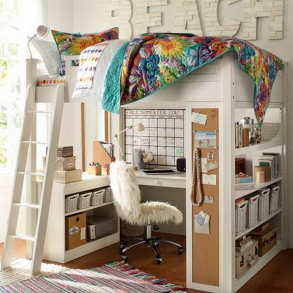 bureau-avec-étagère-un-lit-loft-avec-bureau
