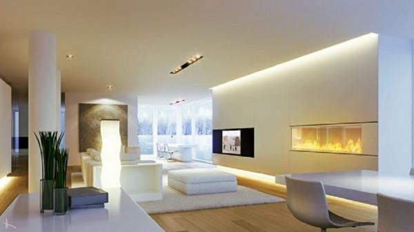 cheminée-contemporaine-murale-un-intérieur-blanc