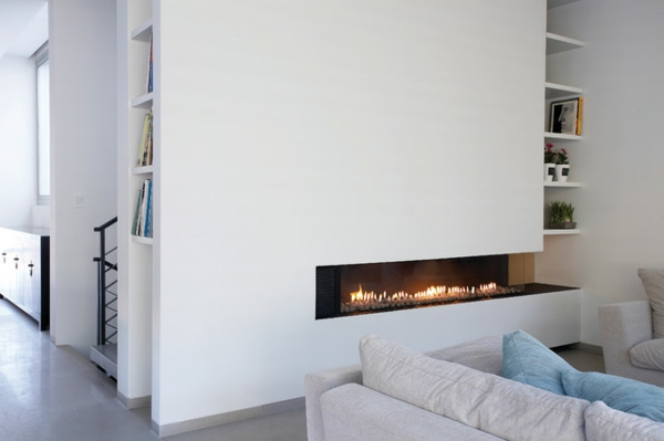 la d co avec une chemin e contemporaine. Black Bedroom Furniture Sets. Home Design Ideas