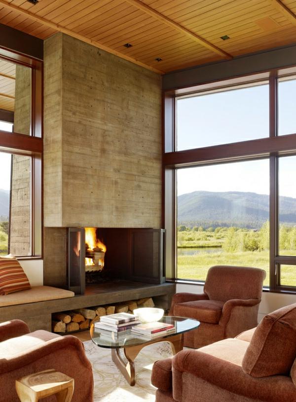 cheminée-contemporaine-sofas-marrons