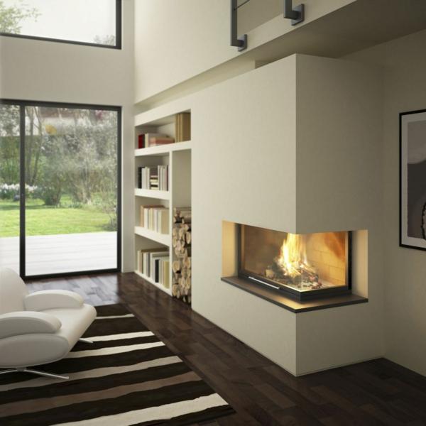 cheminée-contemporaine-un-foyer-d'angle-à-poêle-fermé