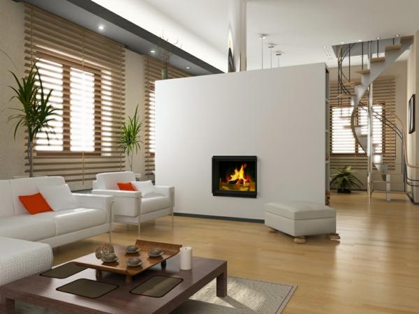 cheminée-contemporaine-un-mur-blanc-et-sofas-blancs