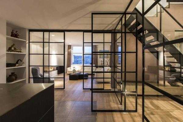 cloison-vitrée-intérieure-appartement-à-Amsterdam