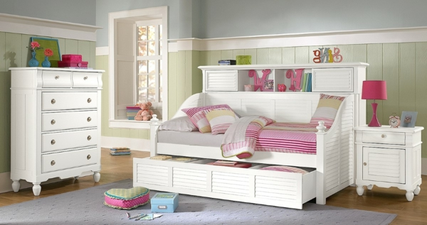 compact-kids-bedroom-interior-design-with-compact-white-trundle-beds-overlooking-with-neoteric-white-drawer-resized