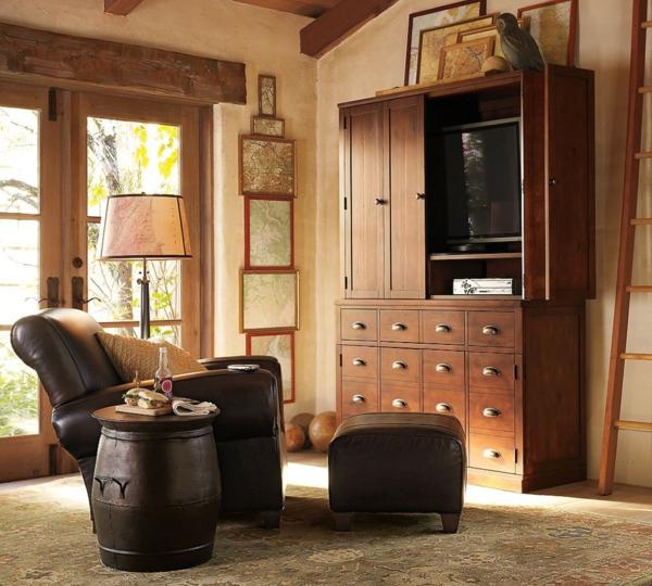 cool-idée-pour-votre-salon-rustique-en-cuir