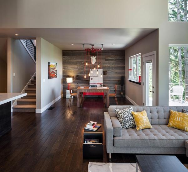 décoration-vintage-espace-moderne-un-plan-ouvert-grand-sofa-gris