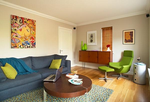 décoration-vintage-fauteuil-vert--peinture-superbe-en-couleurs-intenses