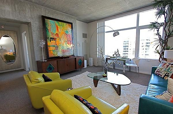 décoration-vintage-fauteuils-jaunes-uniques