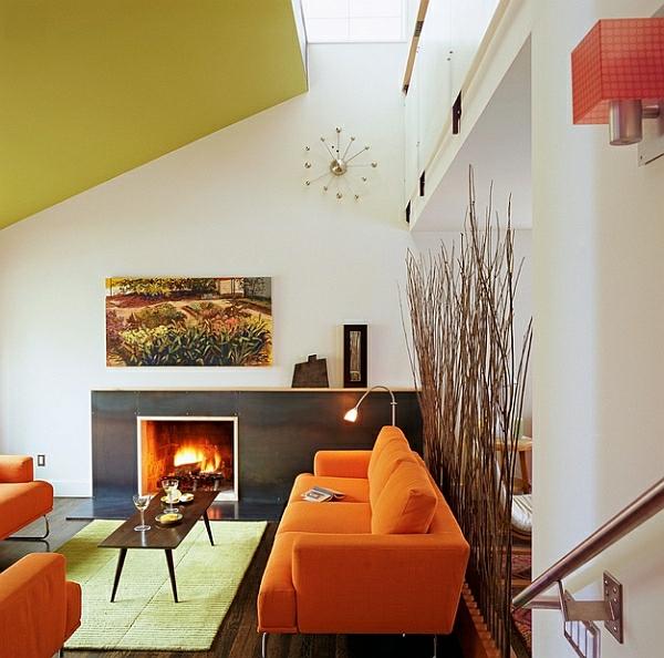 décoration-vintage-intérieur-élégant-sofa-orange